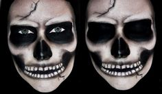 Realistic Skull Makeup for Halloween Skeleton Face Makeup, Skeleton Makeup Tutorial, Halloween Skeleton Makeup, Half Skull Makeup, Skeleton Face Paint, Skull Face Paint, Sugar Skull Halloween, Sugar Skull Makeup, Skeleton Mask