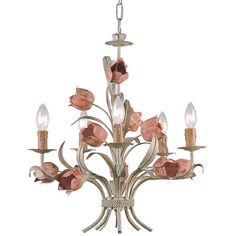 Tulip-inspired chandelier in a green and pink palette.   Product: ChandelierConstruction Material: MetalCo...