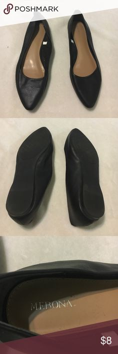 Black Faux Leather Merona Flats Black Faux Leather Merona Flats, size 11, in like-new condition. Only worn once for high school graduation ceremony. Merona Shoes Flats & Loafers