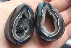 crystal geode ear plugs from AEOrganics on etsy