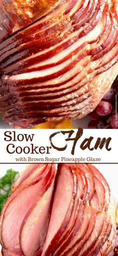 This Slow Cooker Ham is tender, juicy, tasty and perfect for the Holidays! This easy Crock Pot Ham requires minimal prep, a few ingredients and saves you oven space! Smothered in a tasty and easy to m Meat Appetizers, Easy Appetizer Recipes, Slow Cooking, Pineapple Glaze, Meat Recipes For Dinner, Dinner Healthy, Drink Recipes, Brunch Recipes, Easy Baking Recipes