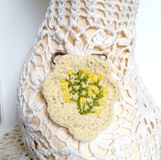 Brooch embroidered/hand knitted gorse flowers by Laviniaslegacy on Etsy