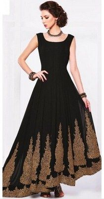 Charming Black Georgette Anarkali Suit With Dupatta SKU: NC5352 RS.6,585 http://bit.ly/1W8s2aj