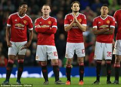Manchester United's Anthony Martial (from left to right), Wayne Rooney, Daley Blind and Jesse Lingard