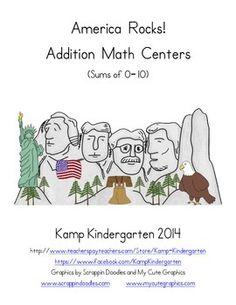 America Rocks! Addition Math Centers (Sums of 0 to 10)  $  http://www.teacherspayteachers.com/Product/America-Rocks-Addition-Math-Centers-Sums-of-0-to-10-1045755