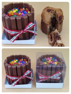 Mini panetone trufado com chocolate kit kat e muito m&m......