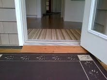 As promised here's the kitchen door threshold wedge in place. Kitchen Doors, Tile Floor, Wedge, Modern, Wedges
