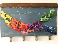 This shoal on mounted on a boat hull recycled as a piece of wall art Clay Fish, Ceramic Fish, Fish Wall Art, Fish Art, Fish Mounts, Coastal Wall Art, Nautical, Recycling, Presents