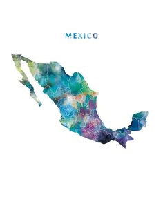 Mexico Watercolor Map Mexico City Print Wall Art Mexico Poster Wall Decor Office Home Decor Gift Digital Download by MONNPRINT on Etsy