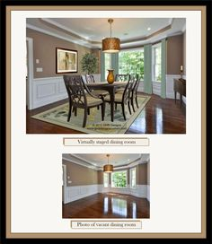 The design for this virtually staged dining room is done directly on a digital photo. What a great way to market a real estate listing! More details can be found at www.gmbdesignscustom.com. Home Staging, Dining Room, Real Estate, Digital, Table, Furniture, Design, Home Decor, Decoration Home