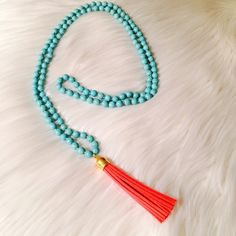 "✨Turquoise beaded necklace w/ coral tassel Long Turquoise beaded necklace with coral   tassel  48"" total length 