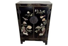 Chinese Lacquer &  Hardstone Cabinet