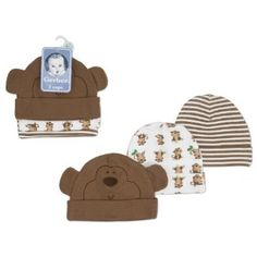 Gerber 3 Pack Monkey Baby Hats 0-6 Months Children's Wear. $9.99