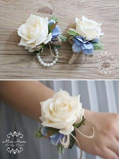 Rustic corsage White green corsage Pinecone Ivory Rose Rustic corsage White green corsage Pinecone I Wrist Corsage Wedding, Prom Corsage And Boutonniere, Bridesmaid Corsage, Wedding Bouquets, Diy Corsages, Diy Boutonniere, Corsages For Wedding, Wrist Corsage Diy, White Corsage