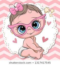 Cute Baby girl in pink eyeglasses. Cute cartoon Baby girl in pink eyeglasses with a bow stock illustration Cute Cartoon Girl, Baby Cartoon, Cartoon Drawings, Cute Drawings, Cute Baby Girl, Cute Babies, Illustrator Ai, Baby Girl Drawing, Baby Painting