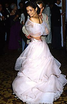 Bianca Jagger Dancing at Lou Lou de la Falaise's wedding in Paris, July, 1977.