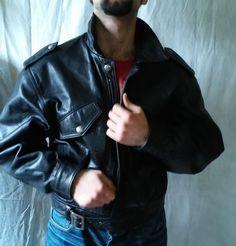 a3f40abfa31de Details about Men Black Leather BISONTE Bomber JACKET size M. Czarna Skóra EbayKurtkiChanel