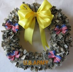 A wreath made out of ACU's! I want to do this!