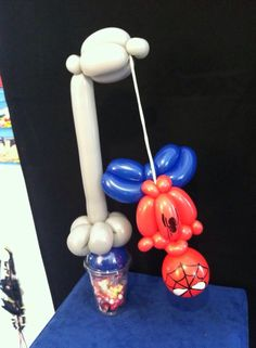 Spidey cup! Mini Balloons, Balloons And More, Love Balloon, Birthday Balloons, Balloon Cartoon, Ballon Decorations, Balloon Crafts, Balloon Animals, Balloon Bouquet