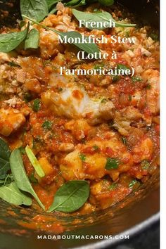 French Monkfish Stew from Brittany, poor man's lobster cooked in tomatoes, wine Salmon Recipes, Fish Recipes, Seafood Recipes, Healthy Recipes, Salmon Dishes, Fish Dishes, Poor Mans Lobster, French Brittany