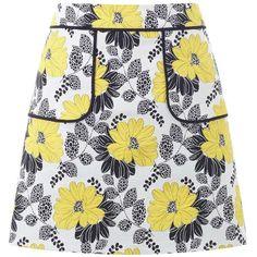 Miss Selfridge Petites Floral Jacquard Skirt ($35) ❤ liked on Polyvore featuring skirts, mini skirts, petite, yellow, short skirts, yellow floral skirt, floral printed skirt, flower print skirt and short floral skirt