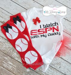I watch ESPN with Daddy onesie and baseball leg warmer set. $36.00, via Etsy.