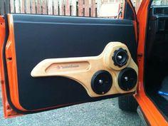 Birch Ply door builds with Rockford Fosgate speakers Automotive Upholstery, Car Upholstery, Custom Car Interior, Truck Interior, Custom Car Audio, Custom Cars, F100, Custom Consoles, Car Sounds