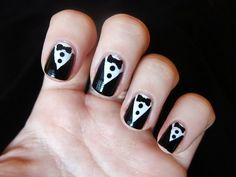 cute black and white nails with bows