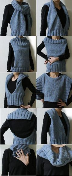 Free knitting pattern for Convertible Halter, Tunic, Cowl, Scarf - Suzanne Resaul's design is the ultimate multi-purpose accessory. The number of ways it can be worn seem almost endless. The pictured project by ANjELLA shortened the rib sections for even more versatility.
