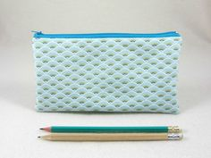 Pencil case,  blue pouch, zipper pouch, Pencil holder, School supplies, made in France, handmade case by JRsbags on Etsy