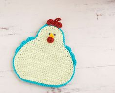 Crochet pot holder chicken pot holder pale green and turquoise