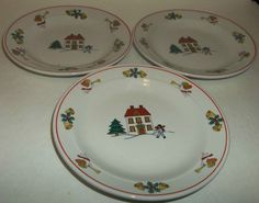 Dessert Saucer Classic Collectors Joy Of Christmas House Bells Angels EUC