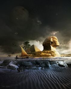 In the Giza Plateau in Egypt, at the base of the Pyramids, site one of the largest and most mysterious statues on the planet. Its name is the Great Sphinx of Giza. Ancient Egypt History, Ancient Aliens, Old Egypt, Egyptian Goddess, Egyptian Symbols, Art Graphique, Oeuvre D'art, Creepy, Outer Space
