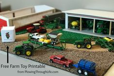 th scale farm toy display ideas and a FREE farm toy scene printable seed sack. Our family loves a free activity for kids who love tractors! Big Rig Trucks, Toy Trucks, Old Ford Trucks, Fire Trucks, Pickup Trucks, Free Activities For Kids, Crafts For Kids, Toy Display, Display Ideas