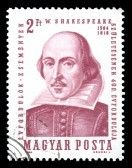 Hungary postage stamp showing an engraving of the famous English Elizabethan playwright William Shakespeare stock photography