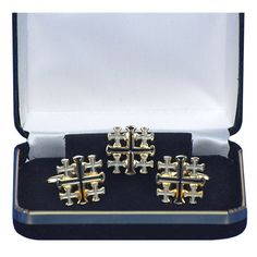 Saint Cross Cufflinks Blue Cross Cufff-links with Velvet Gift Box