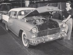 1955 Chevy End of Assembly Line, Hardtop Black & White Picture 1955 Chevy, 1955 Chevrolet, Chevrolet Bel Air, Line Photo, Assembly Line, Real Steel, White Picture, Retro Cars, Shoe Box