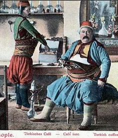 Two warrior-type men in their typical costume, inside a coffee-shop. Istanbul, late 19th c. These men, mostly born in families with a martial tradition, could become either highwayman, either bodyguard or 'başıbozuk' (irregular soldier in the Ottoman army).