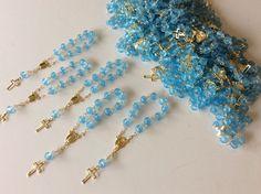 25 Pc Mini Rosary BLUE Baptism Favor Decenario Recuerditos De Bautizo Christenin #BaptismChristening