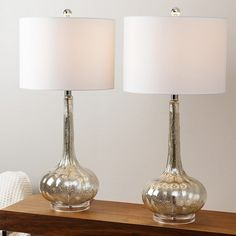 Silver Mercury Glass Table Lamp Brushed Set Of 2 Ivory Shades Pocket Switch Lite #Abbyson #Glam