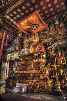 Buddhist Shrine inside temple in Luang Prabang, Laos Lotus Buddha, Art Buddha, Buddha Temple, Luang Prabang, Buddhist Shrine, Buddhist Art, Statues, Temple India, Tibet