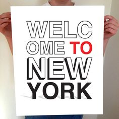 Welcome To New York Typography Print by BentonParkPrints on Etsy. Available in 6 sizes, any color, and framed options available.