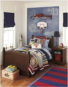 Love the Chalk board! Personalizing Boys Bedrooms with Decorating Themes, 22 Boy Bedroom Ideas Boy Sports Bedroom, Boys Bedroom Decor, Bedroom Themes, Bedroom Ideas, Basketball Bedroom, Sports Bedding, Bedroom Furniture, Basketball Backboard, Dark Furniture