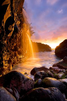 ~~Queen's Bath Waterfall Sunset | Kauai, Hawaii by Cornforth Images~~