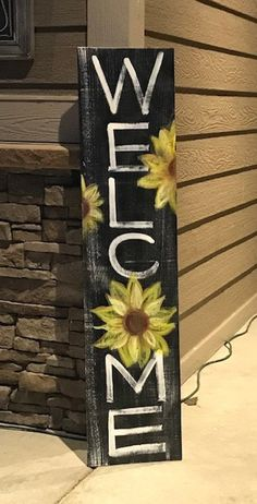 Signs Sunflowers Home Welcome Sign Wood Board Summer Art Summer Welcome Signs Front Door, Wooden Welcome Signs, Front Porch Signs, Diy Wood Signs, Welcome Boards, Wood Pallet Signs, Door Signs, Painted Boards, Painted Wood Signs