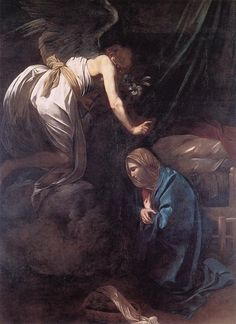 The Annunciation by Caravaggio (ARC) Michelangelo Caravaggio, Oil Canvas, Anthony Van Dyck, In The Beginning God, Baroque Painting, Fra Angelico, Italian Baroque, St Margaret, Johannes Vermeer