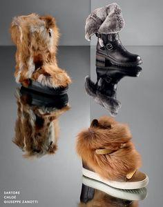 fur-trimmed footwear.