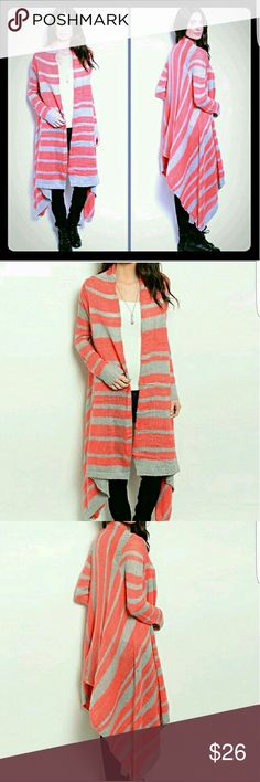 Coral stripe long cardigan Coral and grey knit long cardigan.   Beautiful coral color. Soft knit sweater cardigan Sweaters Cardigans