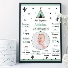 Custom Baptism Poster – Teepee Mint Baptism Theme Personalized poster to celebrate a baptism. To decorate your buffet on D-Day or to keep as a souvenir, this personalized poster is original idea to offer. 1st Birthday Board, Theme Bapteme, Baptism Themes, Personalized Posters, Forest Animals, Family Kids, Communion, Baby Love, Playroom