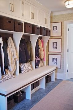 mudroom home design decorating before and after interior design 2012 house design Mudroom Laundry Room, Mudroom Cubbies, Bench Mudroom, Entryway Bench, Hallway Storage, Bench Storage, Storage Ideas, Basket Storage, Ceiling Storage